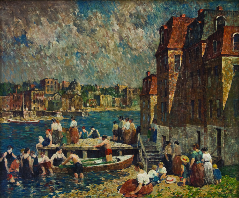 Robert Spencer (American, 1879–1931) Afternoon Bathers, c. 1920 (Oil on linen), Bank of America Collection